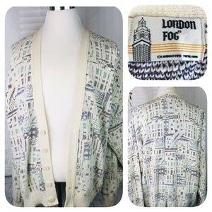 LONDON FOG Vintage 80's 100% Cotton Cardigan EUC